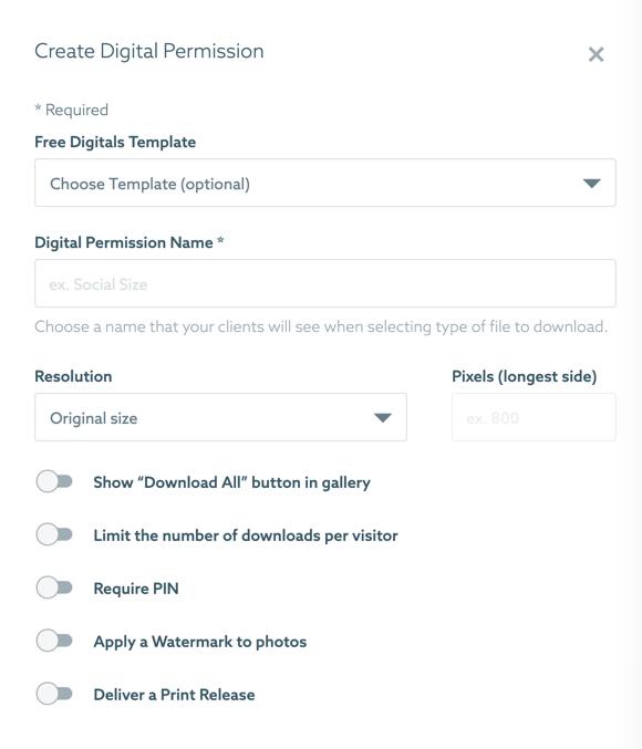 A screenshot of Shootproof website interface - create digital permission