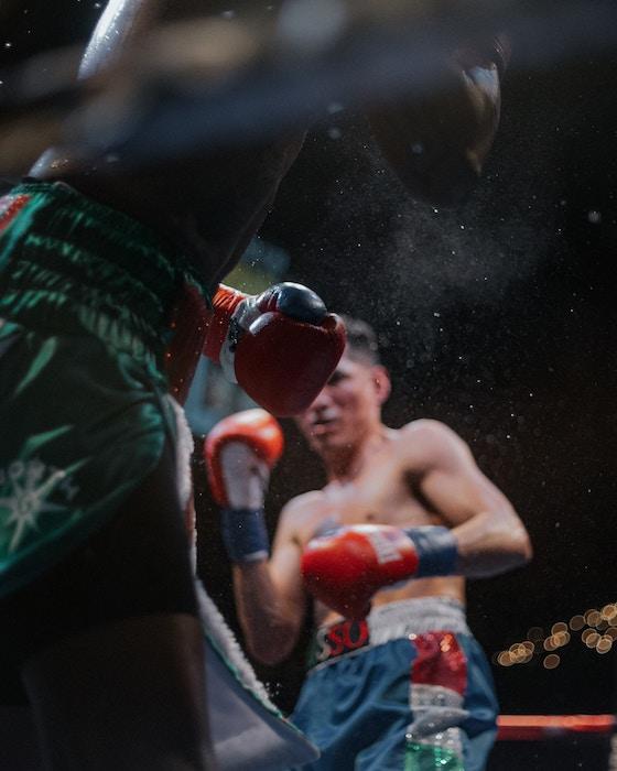 Close-up photo of a boxing match