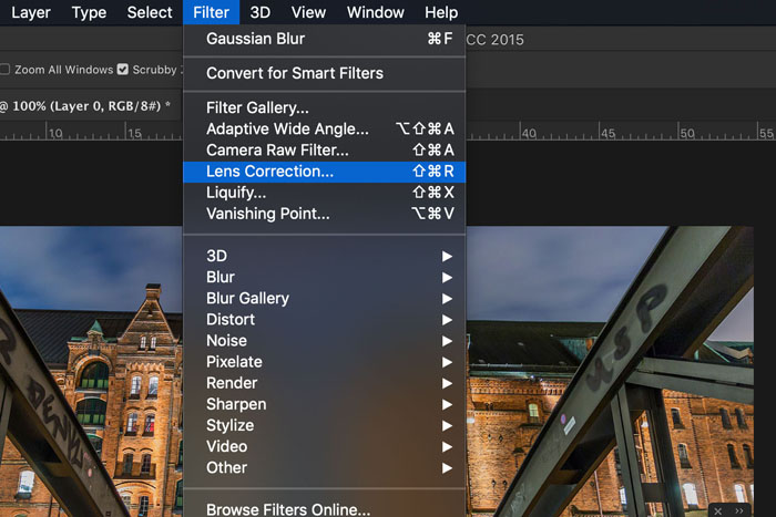 Screenshot of how to select Photoshop lens correction