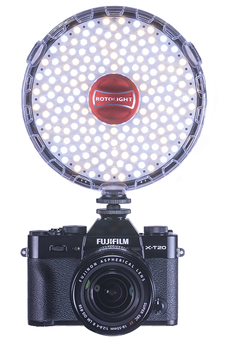 Picture of a Rotolight LED round light.
