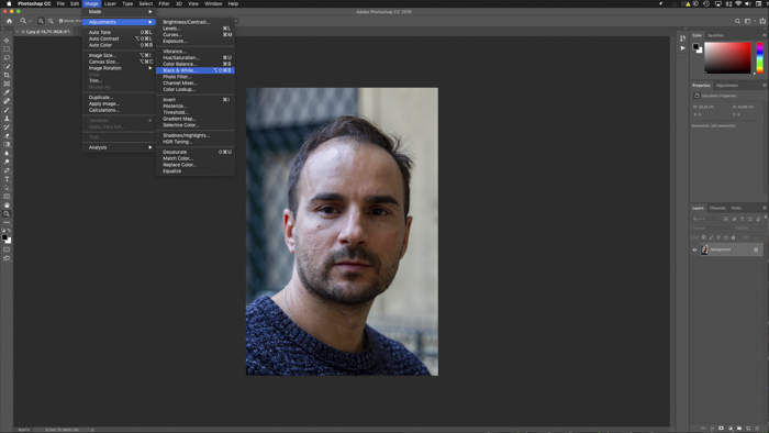 A screenshot showing how to add a new adjustment layer to Add a Sepia Tone in Photoshop