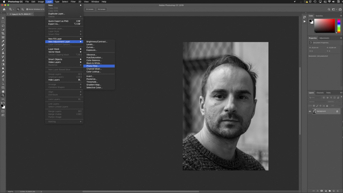 A screenshot on how to add a photo filter in Photoshop