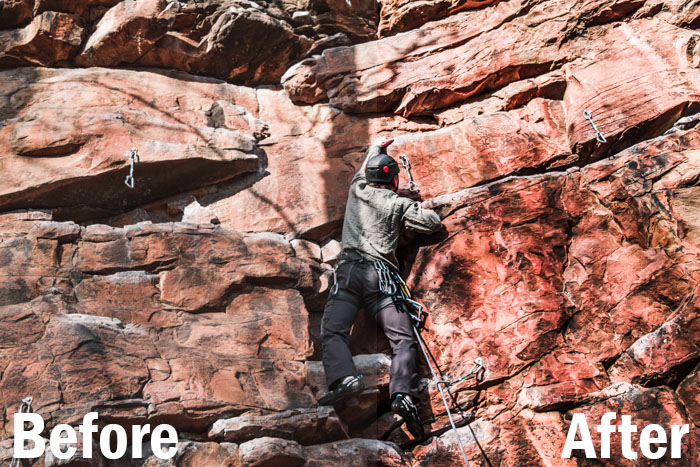 action shot of a rock climber, split screen showing before and after editing with Lightroom sports presets