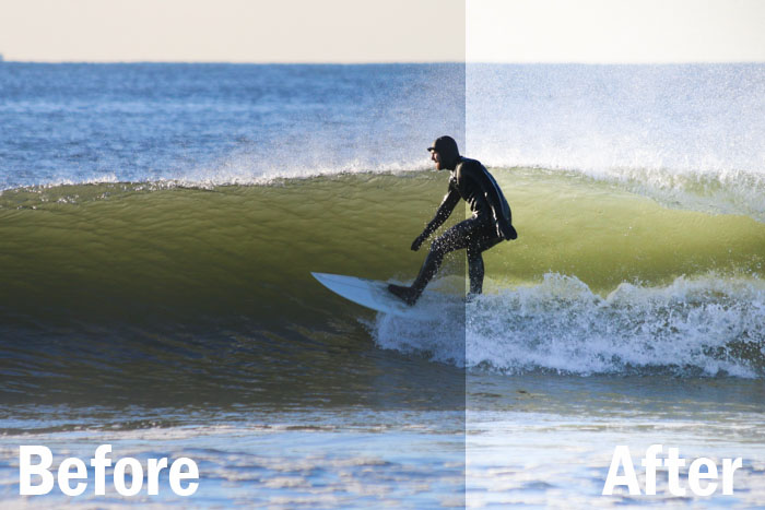 a portrait of a surfer riding a wave, split screen showing before and after editing with Lightroom sports presets