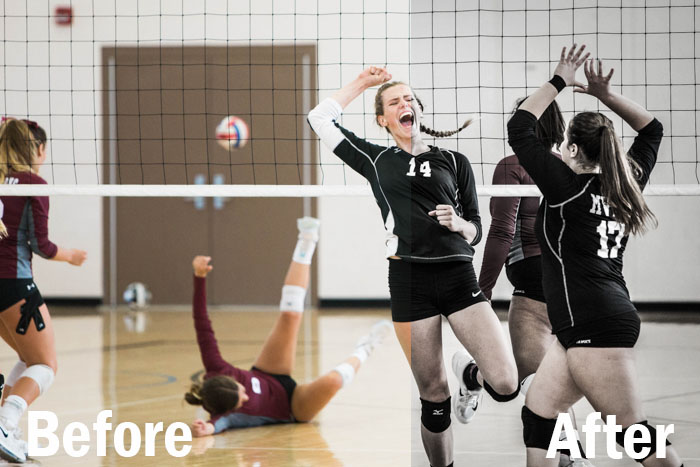 action shot of female volleyball players celebrating scoring a point, split screen showing before and after editing with Lightroom sports presets
