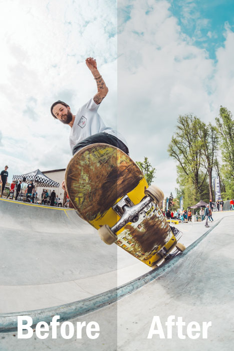 action shot of a skateboarder mid-trick, split screen showing before and after editing with Lightroom sports presets