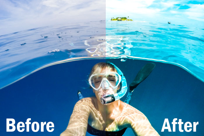 action shot of a diver underwater, split screen showing before and after editing with Lightroom sports presets