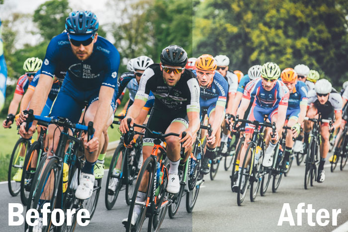 action shot of cyclists during a race, split screen showing before and after editing with Lightroom sports presets