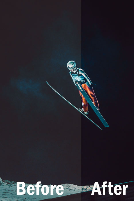 a night portrait of a skier mid jump, split screen showing before and after editing with Lightroom sports presets