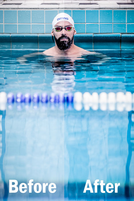 a portrait of professional swimmer in a pool, split screen showing before and after editing with Lightroom sports presets