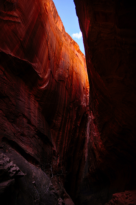 Photo of an orange-coloured canyon in reflected light