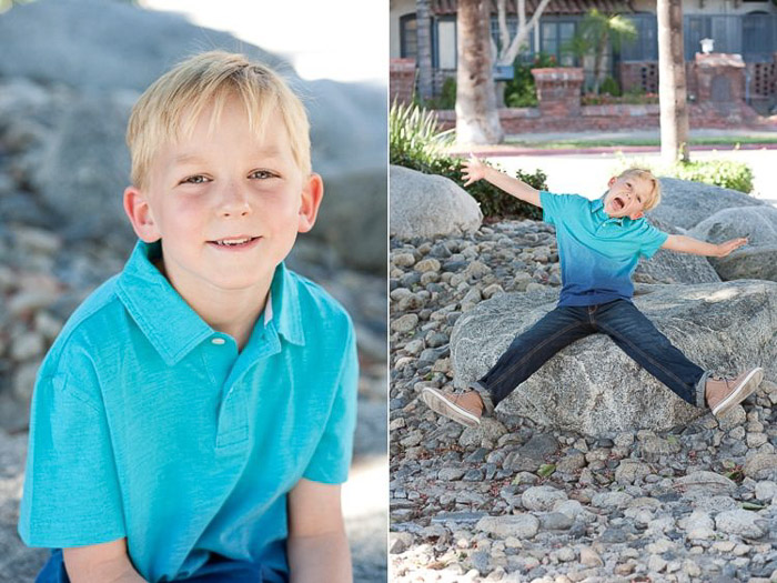 diptych portrait of a young boy demonstrating good ways to photograph unruly children