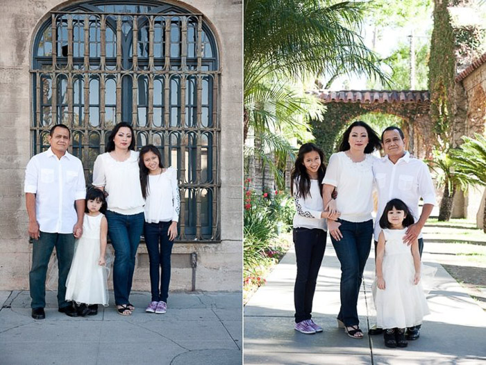 diptych portrait of a family with young kids demonstrating good ways to photograph unruly children