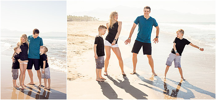 diptych portrait of a family on the beach demonstrating good ways to photograph unruly children