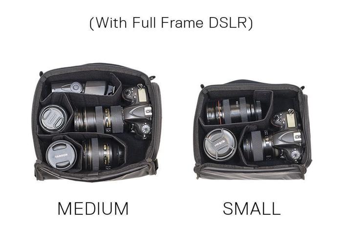 The WANDRD Hexad Access Duffel Bag small and medium camera cubes