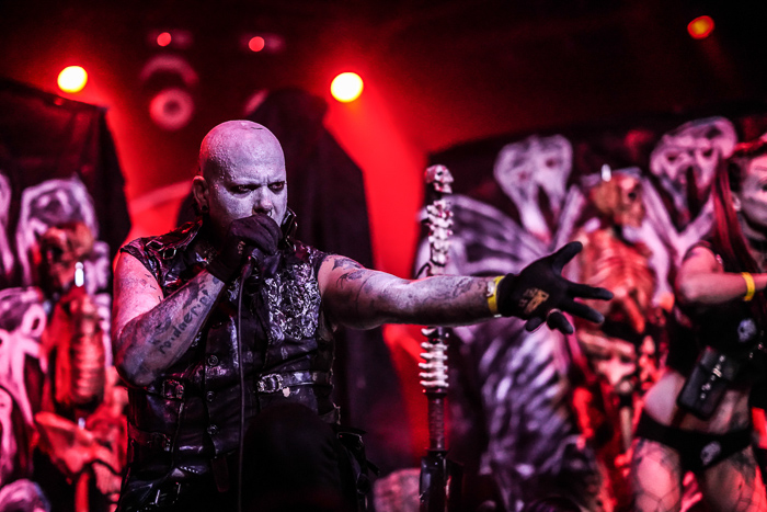 Photo of a singer at a metal concert