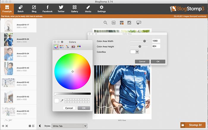 Screenshot of BlogStomp color blocks