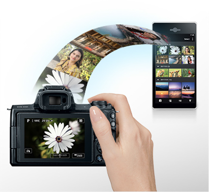 Illustration of photos transferring from camera to smartphone
