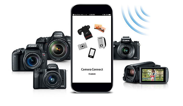 A smartphone with the camera connect app on the screen and various camera types around it