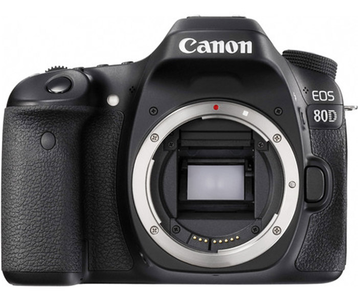 Front facing view of the Canon 80D camera body