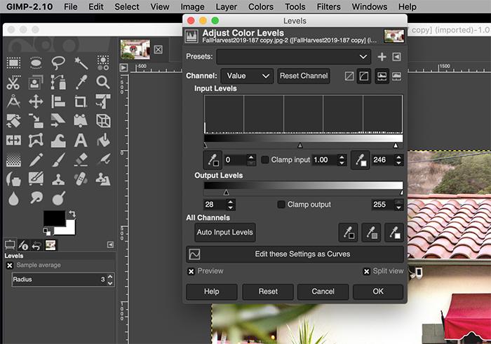 Screenshot of editing a photo in GIMP