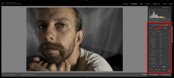 a screenshot showing how to enhance eyes in Lightroom using adjustment brush