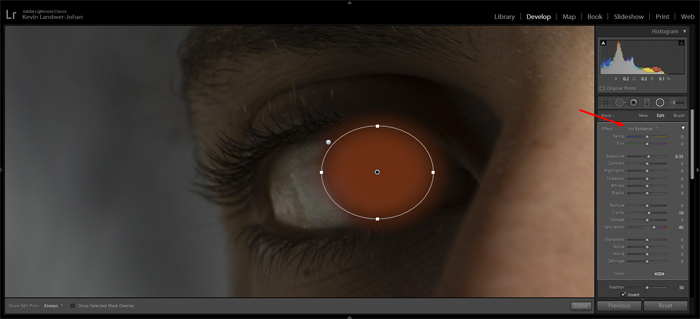 a screenshot showing how to enhance eyes in Lightroom