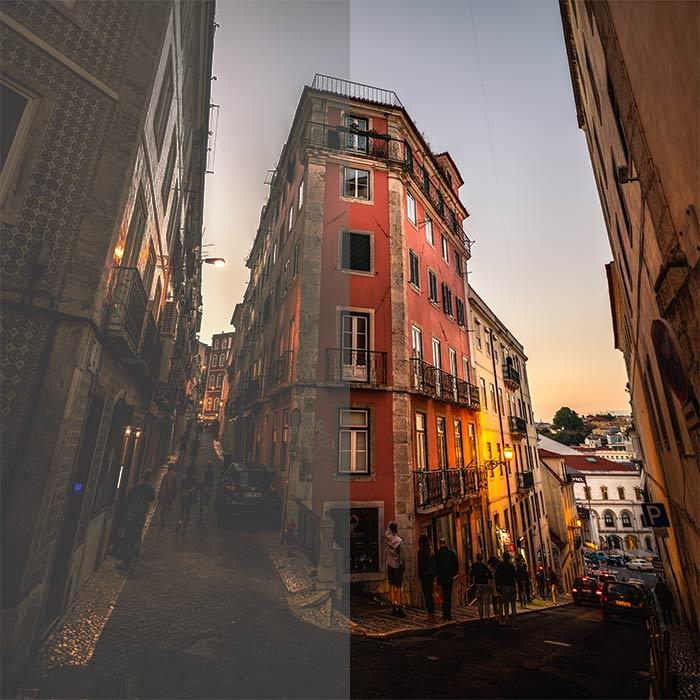 A cityscape in split screen - half in matte look