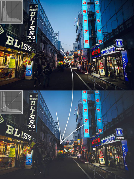 two images of a street scene at night, alight with neon advertising signs - one edited with matte effect in photoshop