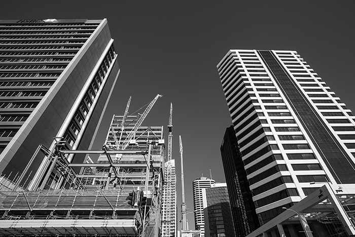 Black and white photo of skyscrapers