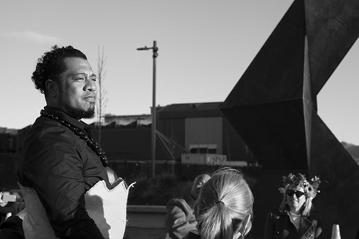 Tongan artist, Sēmisi Fetokai Potauaine at the opening of VAKA 'A HINA, 2019, Christchurch, New Zealand.