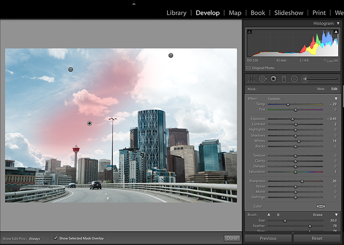 Screenshot of editing sky in Lightroom