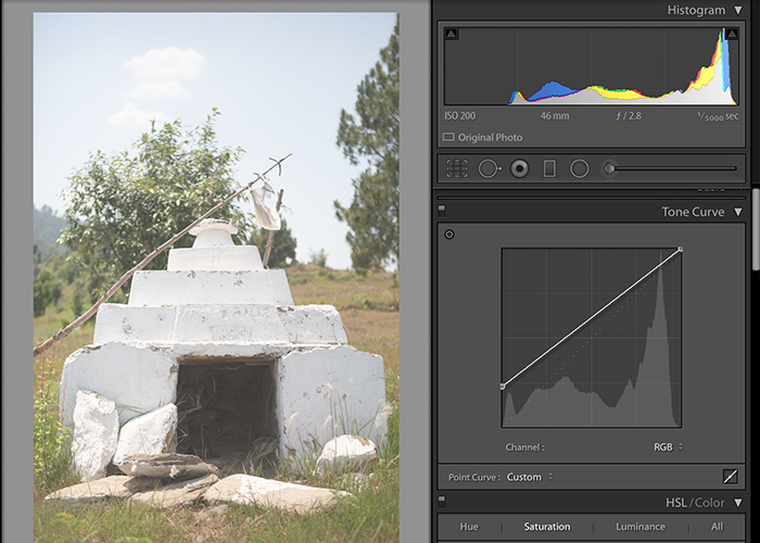 Screenshot of editing a photo in Lightroom - matte effect