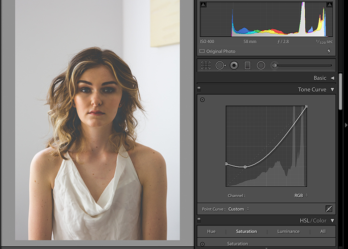 Screenshot of editing a photo in Lightroom matte effect