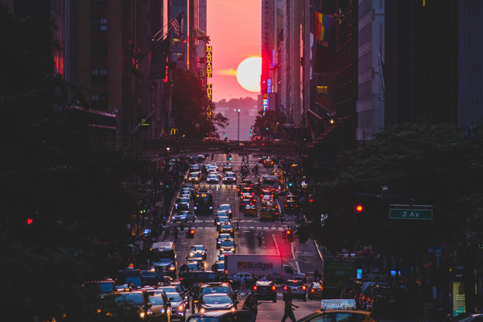 Photo of a busy cityscape at sunset