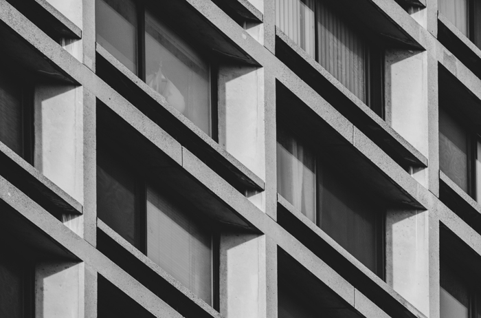 Architecture photo of a building in black and white