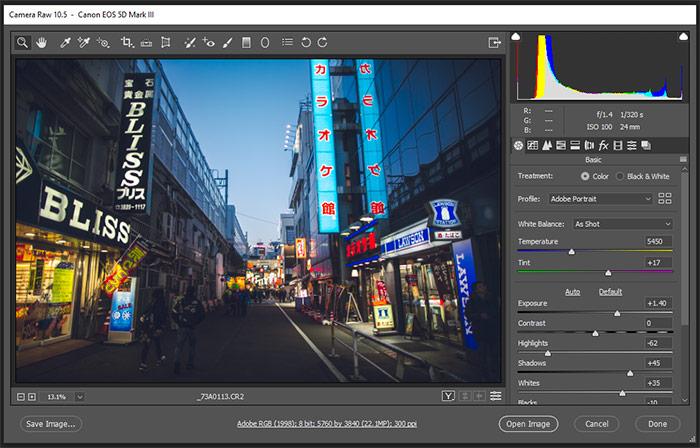 a screenshot showing editing with Adobe Camera Raw
