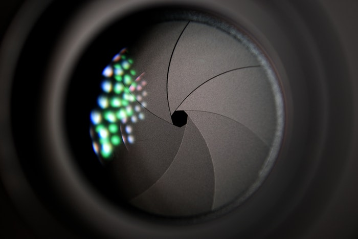 Close up of a camera lens