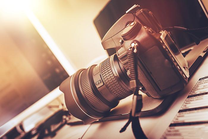 A Nikon camera with wide angle lens