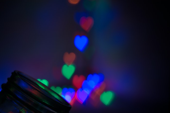 Colorful heart-shaped bokeh photography effects