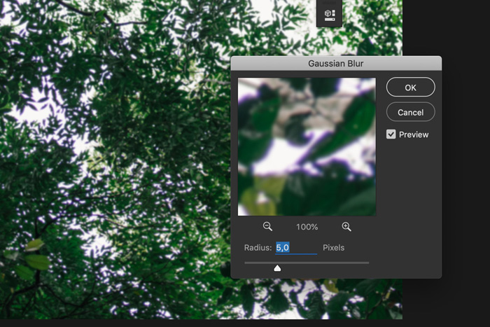 a screenshot showing how to apply Gaussian blur in Photoshop to remove chromatic aberration