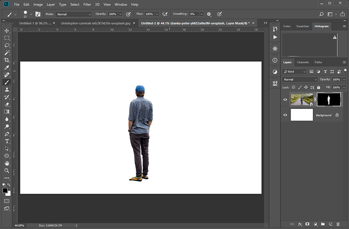 Screen from Photoshop showing man from second image clipped. The background is no longer visible.