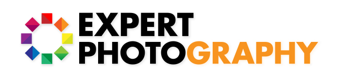 Expert photography logo with pat of the text coloured orange using the clipping mask.