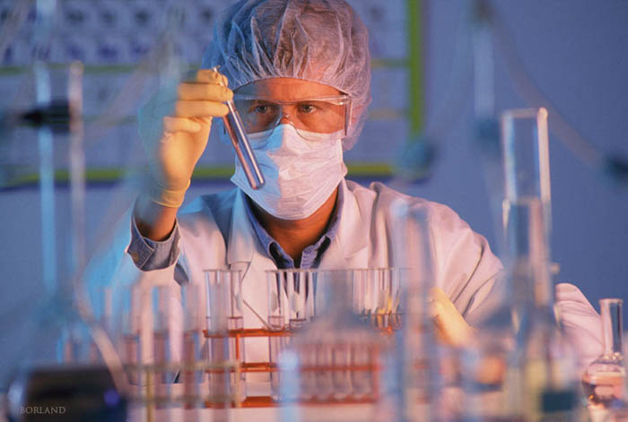 a doctor working in a lab