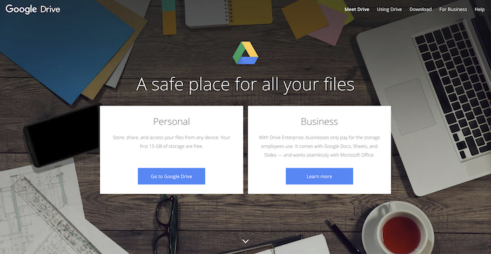 a screenshot of google drive homepage