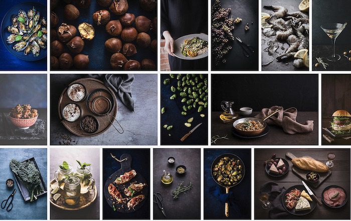 a screenshot from a food photography business website