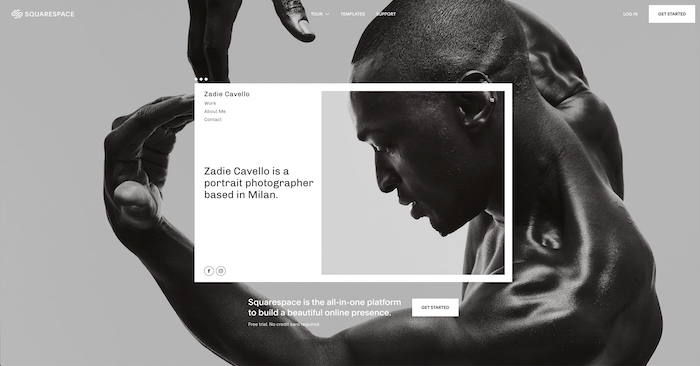 a screenshot of Squarespace website homepage