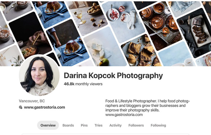 a screenshot of Darina Kopcok photography business website