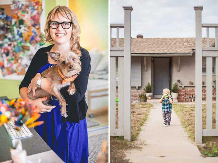 diptych portraits of a woman holding a dog and a small boy outside a house