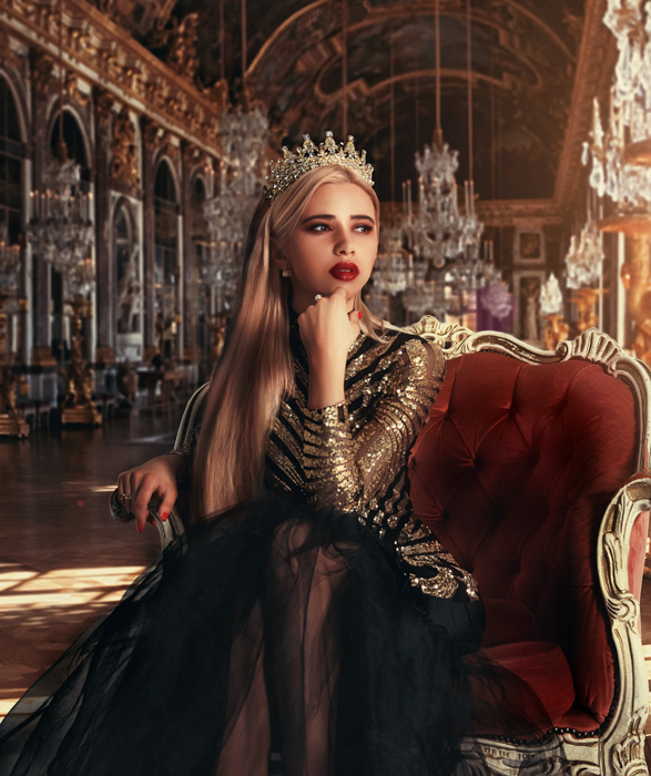 a female model in a stunning palatial setting